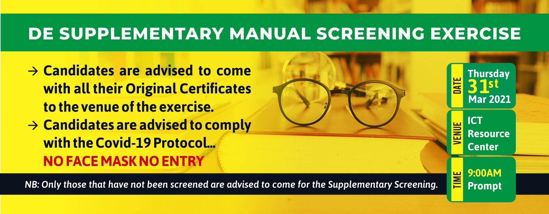 MOUAU Supplementary Direct Entry Manual Screening Exercise Schedule