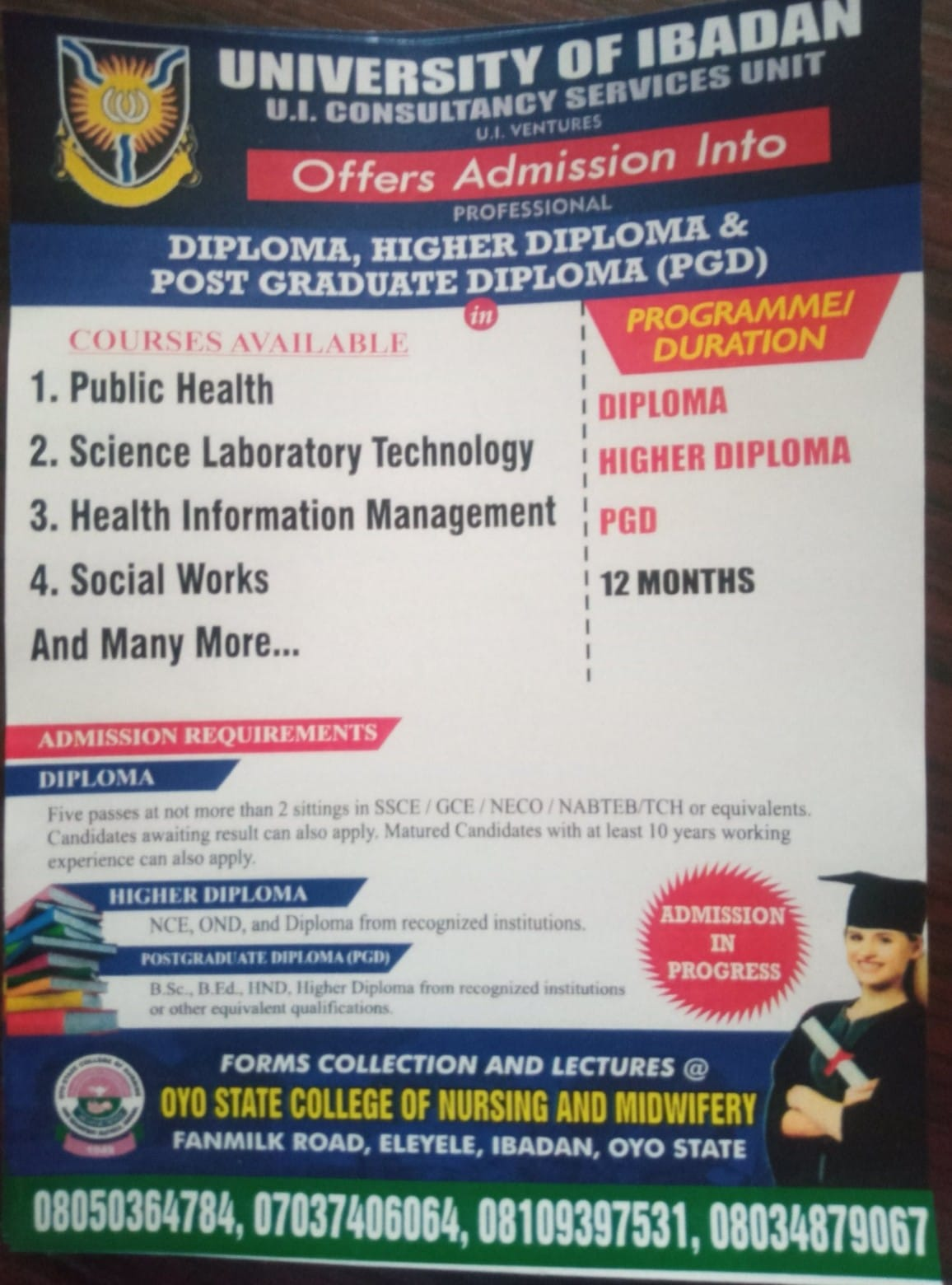 UI Consultancy Services Diploma, Higher Diploma & PGD Forms