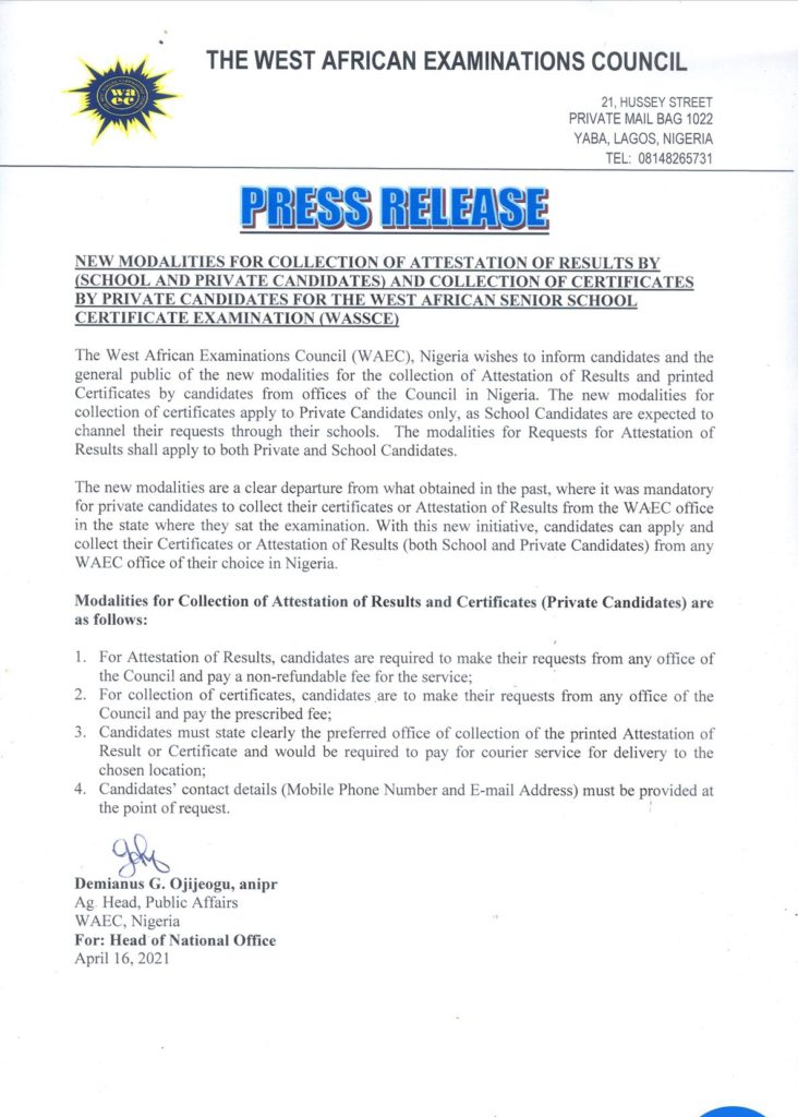Attestation of Result and Certificate Collection New Guidelines