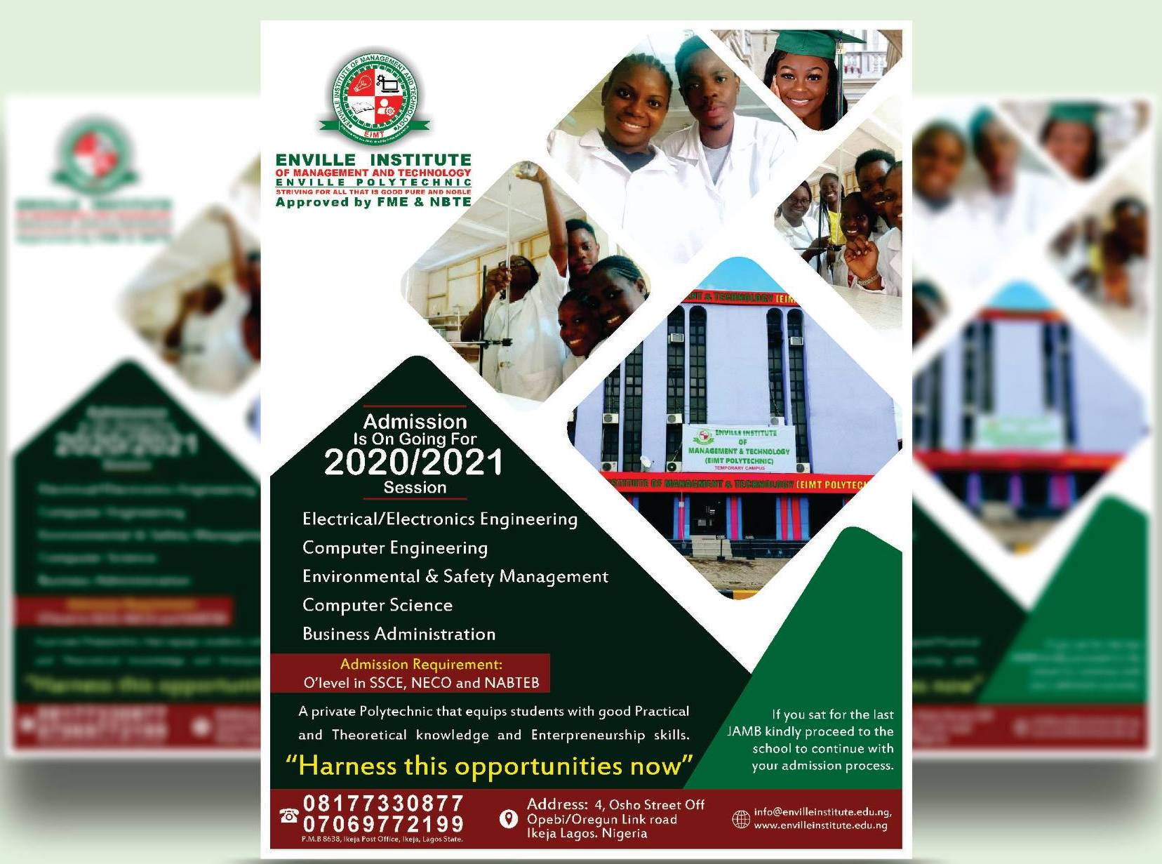 Enville Polytechnic Admission Form for 2020:2021 Academic Session