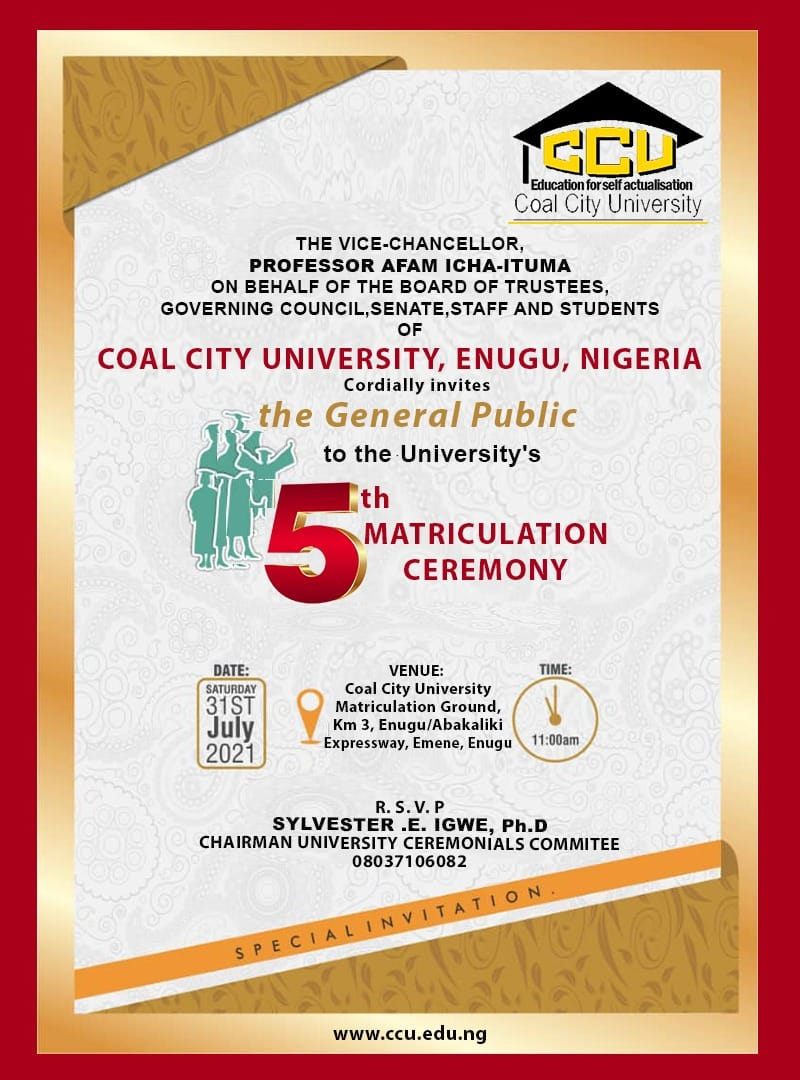 Coal City University (CCU) 5th Matriculation Schedule for 2020:2021 Academic Session