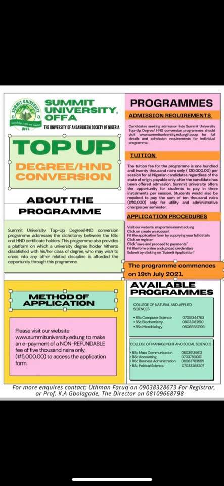 How to Apply for Summit University Summit Admission and HND Conversion Admission Form