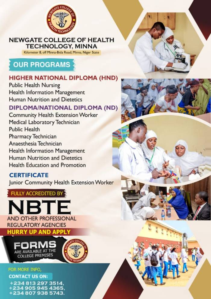Newgate College of Health Technology Announces Minna Admission Form