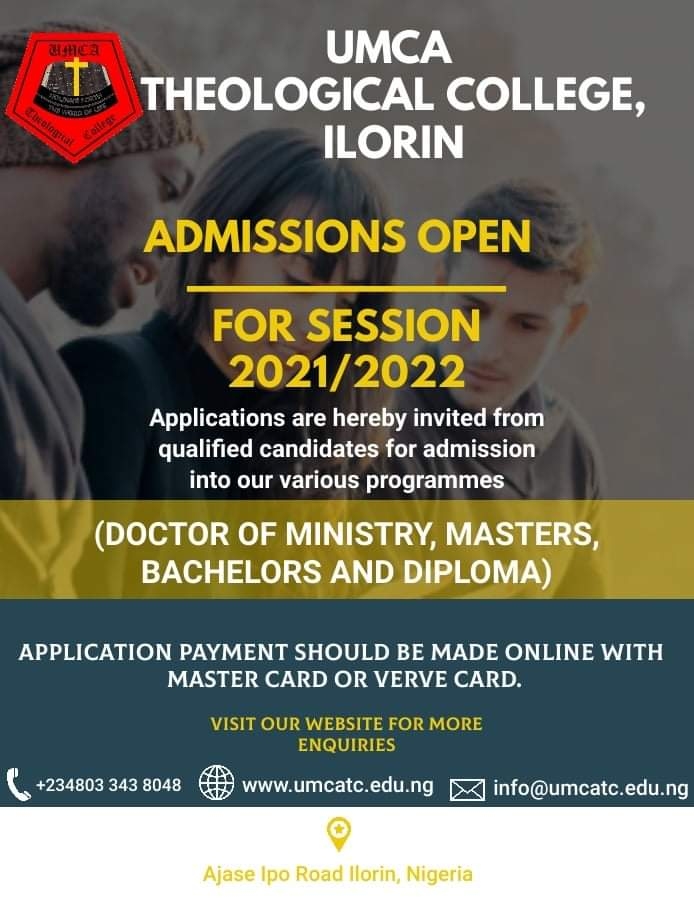 UMCA Theological College Admission Form for the 2021 Academic Session: 2022