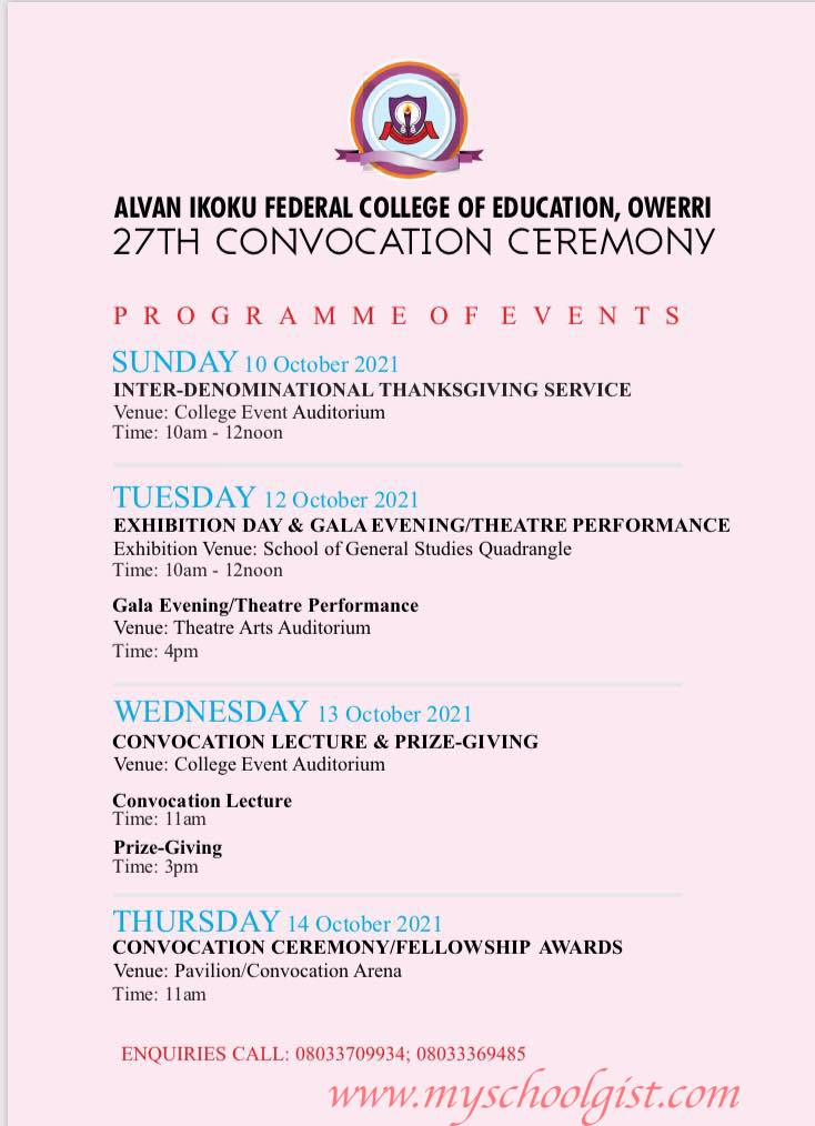 Alvan Ikoku Federal College of Education (AIFCE) 27th Convocation Ceremony Programme of Events