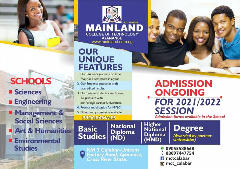 Mainland College of Technology Calabar Admission Form 2020:2021 Session