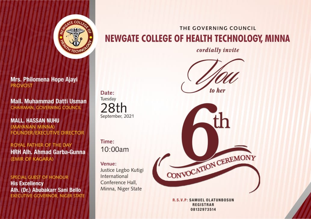 Newgate College of Health Technology 6th Convocation Ceremony Date