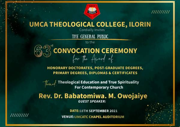 UMCA Theological College Convocation Ceremony Schedule