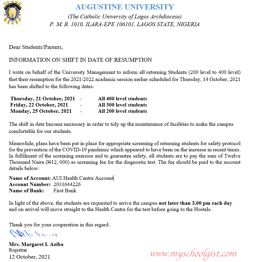 Augustine University Resumption Date for 2021:2022 Academic Session