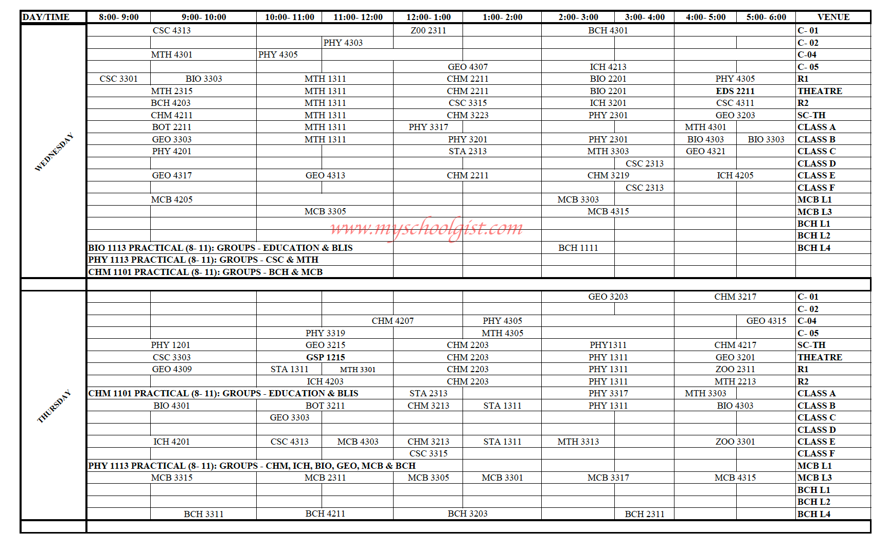 UMYU Lecture Timetable 1